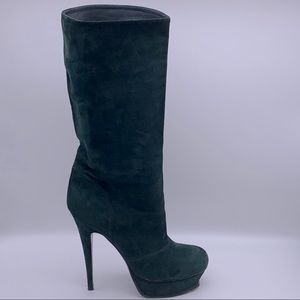 Yves Saint Laurent Green Suede Boots Size 41